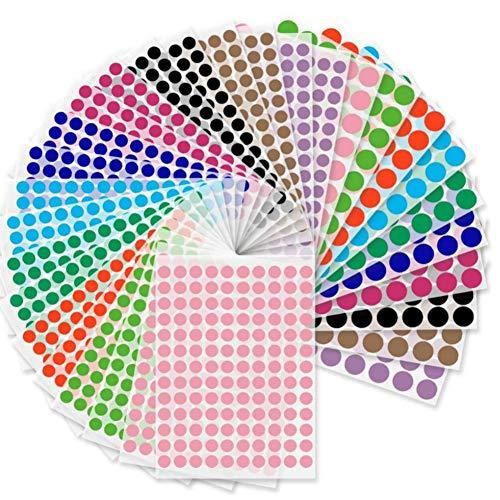 Koogel Rund Punktaufkleber, 3100 Stk. Bunte Klebepunkte Farbkodierung Etiketten Markierungspunkte 10 Farben, 19mm und 13mm
