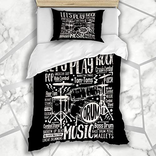 Ahawoso Duvet Cover Sets Twin 68X86 Retro Drummer Music Rock Drums Tee Sports Black Recreation Vintage Graphic Text Bass Design Set Microfiber Bedding with 1 Pillow Shams
