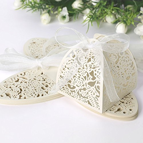 YOZATIA 50pcs Laser Cut Rose Gift Boxes with 50 Ribbons, 2''x2''x2.4'' Favor Boxes for 16 Birthday Party Wedding Favor (ivory)