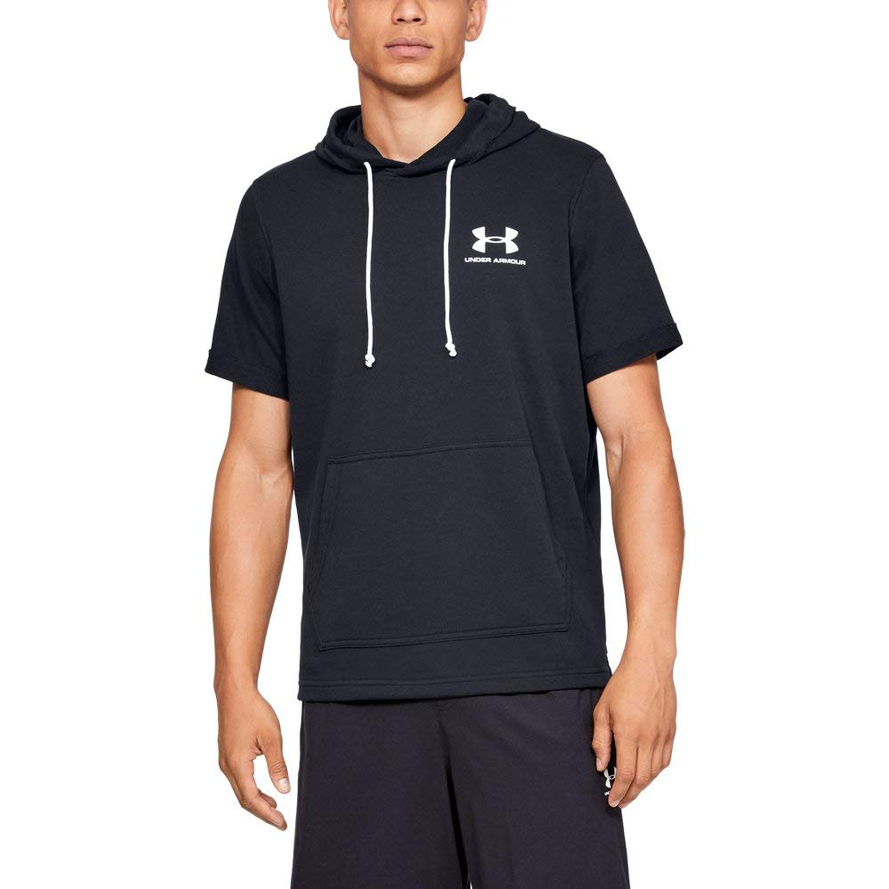 Under Armour Men's sportstyle Terry short sleeve Hoodie, Black//Onyx White, Small