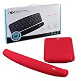 Nex Mouse Mat with Keyboard Wrist Rest Pad Kit Comfortably Made of Memory Foam for Surfing and Gaming (Red)