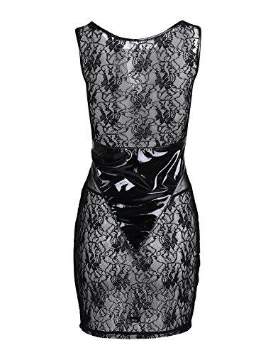 Femmes Tiaobug Dames Humide En Cuir Verni Look Semi-voir Par Partie Mince Robe De Clubwear