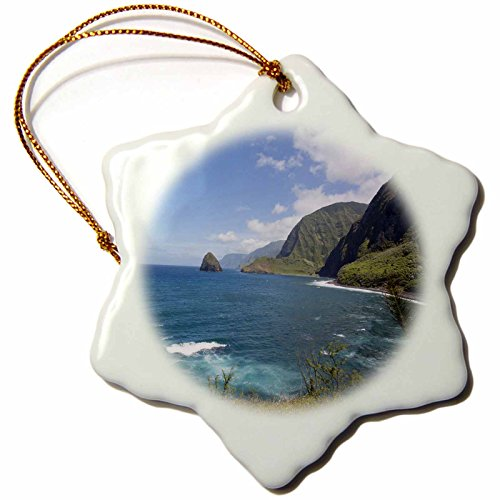 3dRose Kalaupapa Peninsula, Molokai, Hawaii, USA Snowflake Ornament, 3'' by 3dRose