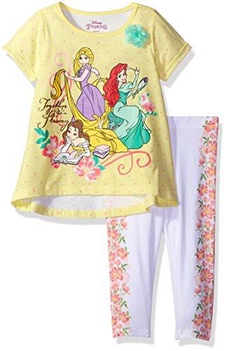 Disney Little Girls' 2 Piece Princesses Legging Set, Yell...