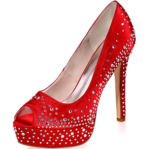 Bridal Satin Open Evening Crystal High Heel Women's Party Wedding Clearbridal Shoes Rhinestone for 17A Prom with Toe ZXF3128 Peep Red q5CtwBxX