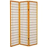 ORIENTAL FURNITURE 6 ft. Tall Canvas Window Pane Room Divider - Honey - 3 Panels