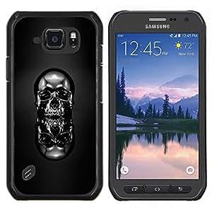 Qstar Arte & diseño plástico duro Fundas Cover Cubre Hard Case Cover para Samsung Galaxy S6Active Active G890A (Cráneo Cromo Negro)