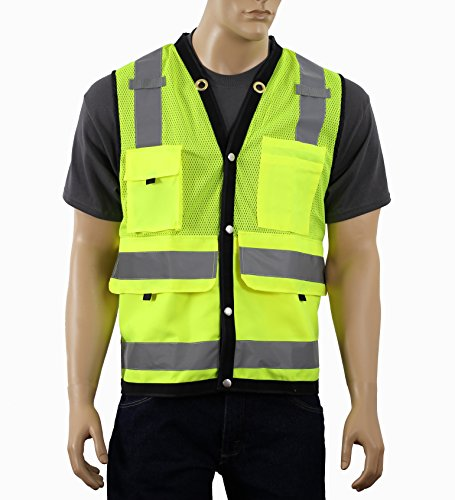 Surveryor Vest ANSI Class 2 Approved Large Deep Pockets, Mic Tabs & High Visibility Reflective Tape SURV (Lime, 5XL)