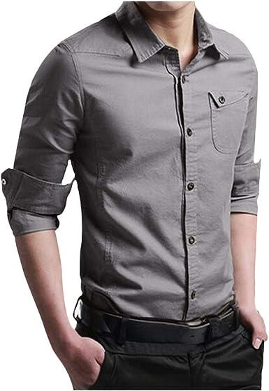 Camisa de Vestir de Manga Larga con Botones Delgados para Hombres Camisa Militar Blusa Formal Gris XL: Amazon.es: Ropa y accesorios