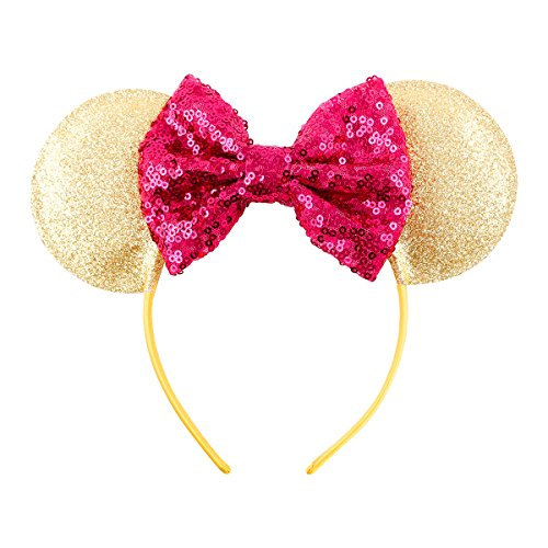 Cute Mickey Mouse Ears Headband Hoop Hair Accessories Headdress Hair Accessories for Party Festivals (Gold Rose -