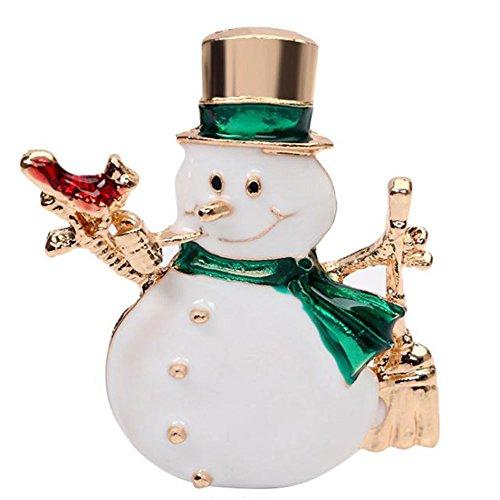 Snowman Scarf Pin Rhinestones Breastpin