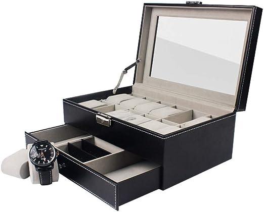 DKZK Caja para 12 de Relojes Organizador de Relojes Caja relojero Estuche relojero para almacenar Relojes, de Piel sintética, Negro: Amazon.es: Hogar