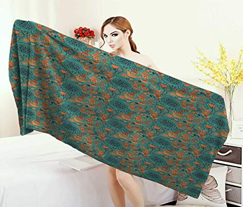 Anniutwo Vintage,Baby Bath Towel,Nature Scroll Art Pattern with Birds Flowers Teapot and Cups,Print Wrap Towels,Turquoise Pale Caramel Dark Brown Size: W 10