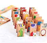 Graces Dawn 28 Pcs of Educational Wooden Toy Domino Animal Puzzles Kids Game Gift