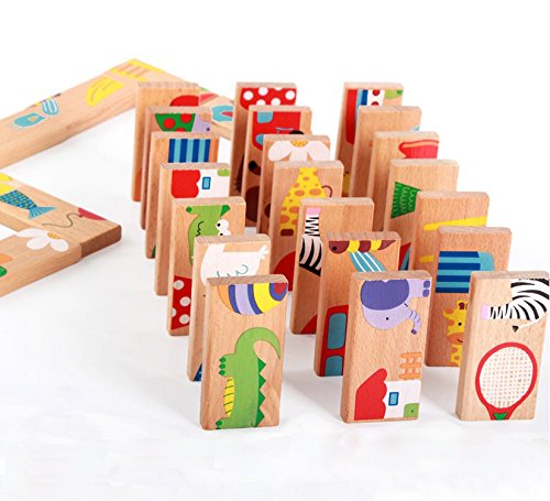 Graces Dawn 28 Pcs of Educational Wooden Toy Domino Animal Puzzles Kids Game Gift by Graces Dawn