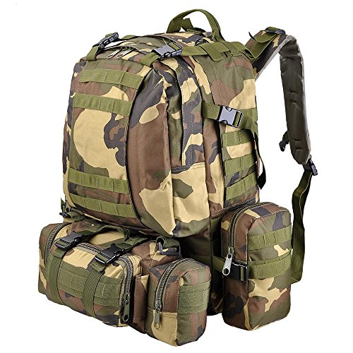 (AW 55L 600D Tactical Army Rucksacks Molle Backpack Camping Outdoor Hiking Trekking Traveling Bag Woodland camouflage)