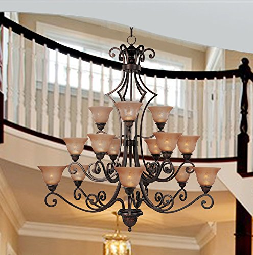 Hamilton Home Oil Rubbed Bronze Finished Multi Tier Chandelier Chandeliers Lighting With Screen Amber Shades – Good for Dining Room, Foyer, Entryway !