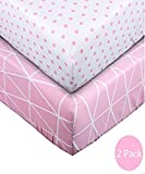 Crib Sheet UOMNY 100% Cotton Baby Coverlet for Baby Girl and Baby Boy 2 Pack(Pink line pattern/Pink dot pattern) Image