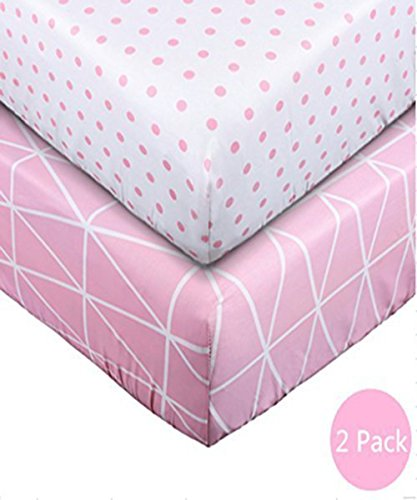 Crib Sheet UOMNY 100% Cotton Baby Coverlet for Baby Girl and Baby Boy 2 Pack(Pink line pattern/Pink dot pattern)