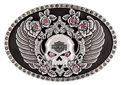 Harley-Davidson Women's Rhinestone Rockin' Roses Skull Belt Buckle HDWBU11340