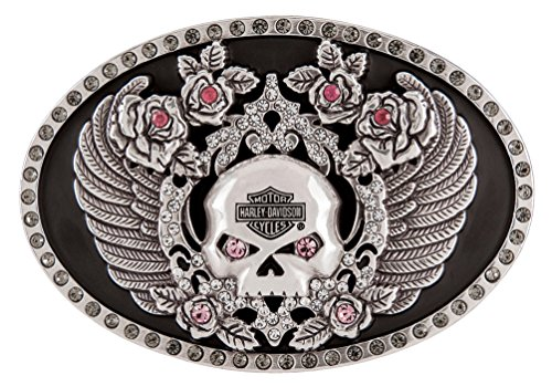 (Harley-Davidson Women's Rhinestone Rockin' Roses Skull Belt Buckle HDWBU11340)