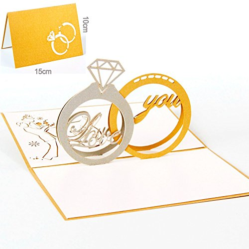 Paper Spiritz Diamond Ring Pop up Cards for Couples Her Husband Women - Pop up Birthday Cards all Occasion Love Thank You Holiday with Envelope - Handmade Graduation Cards 2018 (Diamond Sister Ring)