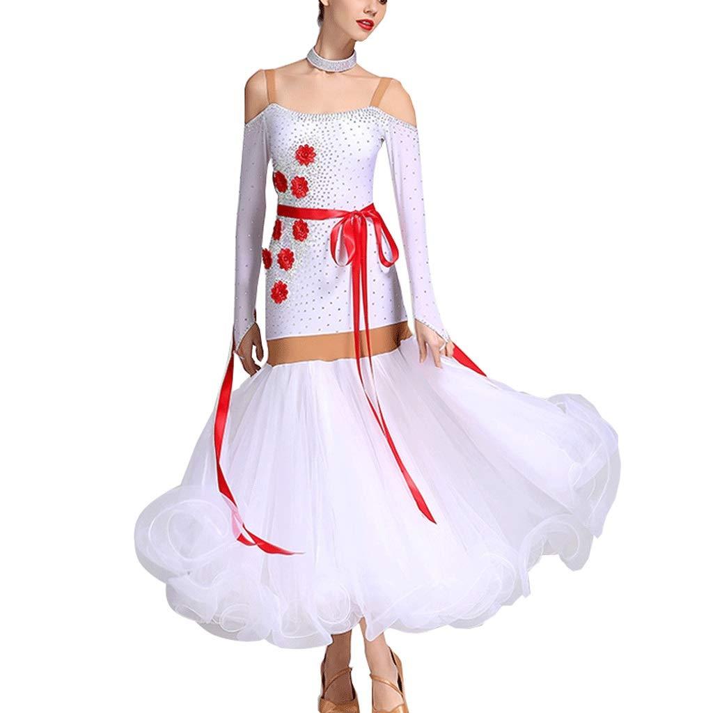 Blanc S Costume de Costume de Compétition Norme Nationale de Justaucorps de Danse de Salle de Bal