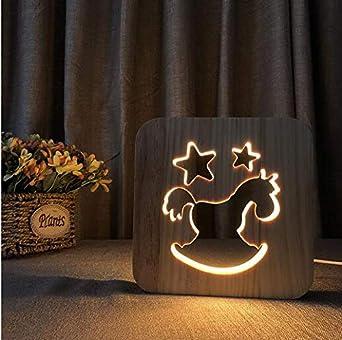 3d Illusion lámpara LED luz nocturna decorativo caballo de Troya luces Escultura Arte del madera lámpara de cuadro/luz de fuente de USB + changer de línea de datos