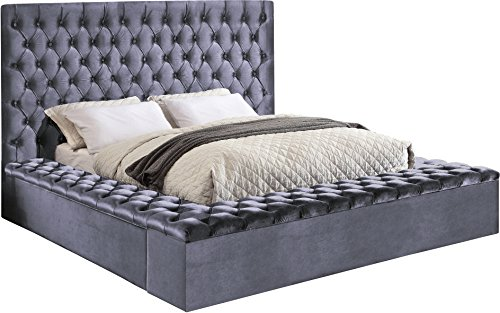 Meridian Furniture K Blissgrey-K Bliss Velvet Bed, King, Grey from Meridian Furniture