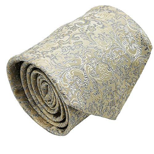Mens ties silk Necktie men Neck Tie gift boxes luxury Ivory silver by Qobod (ST101)