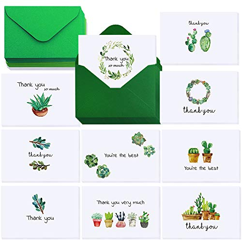 Winlyn 40 Sets Blank Watercolor Succulents Thank You Cards with Envelopes Cactus Greenery Wedding Graduation Thank You Notes Cards Gratitude Cards 4 x 6 Assorted Bulk for Wedding All Occasion Birthday