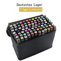 tongfushop 80 Farbige Graffiti Stift Fettige Mark Farben Marker Set,Twin Tip Textmarker Graffiti Pens für Sketch Marker Stifte Set Mit (Deutsche Lieferung) (80 Schwarz)