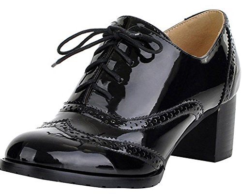 Leather Patent Lace Heels - Women's Oxford Leather Mid heel Shoes-BEAUTOSOUL-Dress Pumps Black Size 8
