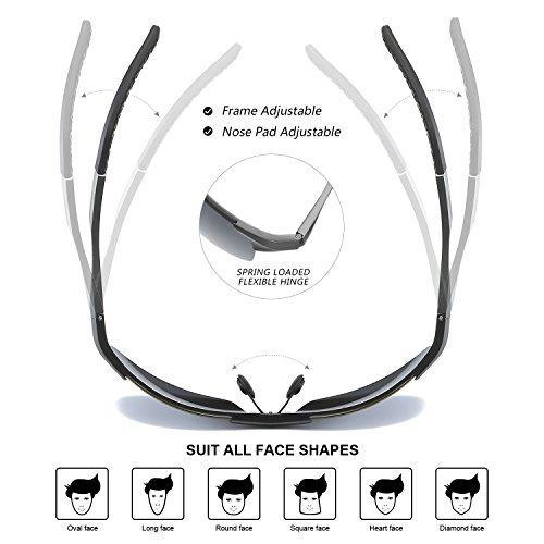 Pêche Lunettes Conduite de Soleil Mode UVA de Polarisées La 100 Noir Protection La à Sports UVB Gris Extérieure pour Hommes des 6pqwpdC