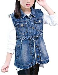 MFrannie Girls Casual Brass Button Elastic Waistband Basic Denim Vest