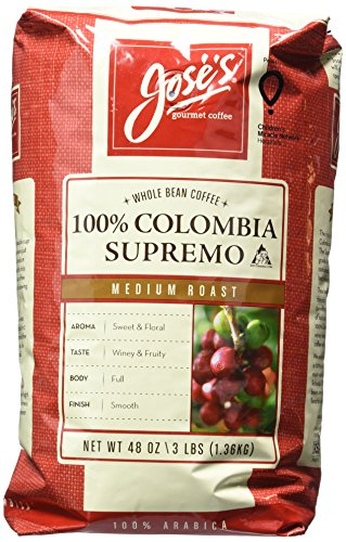 Jose's Whole Bean Coffee Columbia Supremo 3 Lbs