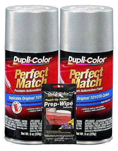 Dupli-Color Millennium Silver (Metallic) Toyota Exact-Match Automotive Paint - 8 oz, Bundles Prep Wipe (3 Items)
