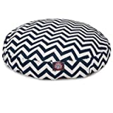 Navy Blue Chevron Large Round Indoor Outdoor Pet Dog Bed With Removable Washable Cover By Majestic Pet Products by Majestic Pet