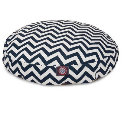 Navy Blue Chevron Large Round Indoor Outdoor Pet Dog Bed With Removable Washable Cover By Majestic Pet Products by Majestic Pet by Majestic Pet