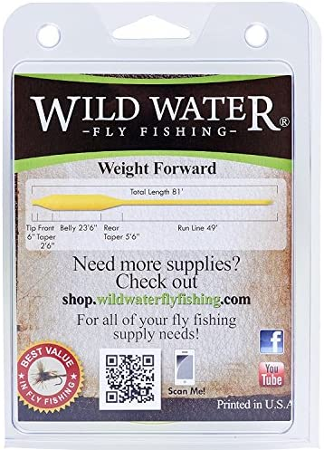 Wild Water Weight Forward Floating 10-Weight Yellow Fly Fishing Line, 90 ft