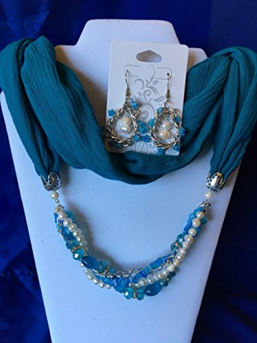 Teal Pearl Braid Beaded Infinity Scarf Necklace with Earrings