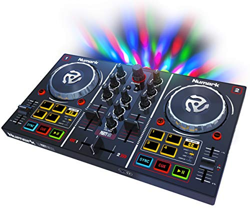 - Numark Party Mix - Starter DJ Controller with Built-In Sound Card & Light Show, and DJ Software Included for Download