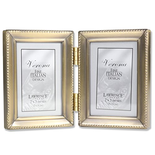 - Lawrence Frames Antique Gold Brass Hinged Double 2x3 Picture Frame - Beaded Edge Design