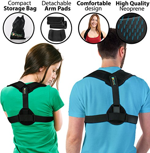 NEW Posture Corrector for Women & Men - Adjustable Hunchback Brace and Clavicle Support with Pads by Hauxel™ - Best for Posture Correction, Spine Realignment, Thoracic Kyphosis, Upper Back Pain Relief