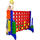 Giant 4 in a Row Connect Game – 4 Feet Wide by 3.5 Feet Tall Oversized Floor Activity for Kids and Adults – Jumbo Sized for Outdoor and Indoor Play - by Giantville