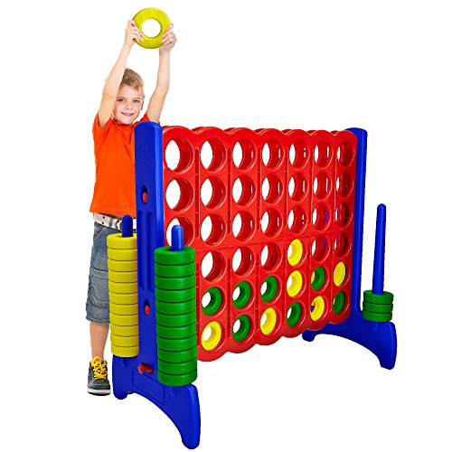 Jumbo Activity - Giant 4 in a Row Connect Game – 4 Feet Wide by 3.5 Feet Tall Oversized Floor Activity for Kids and Adults – Jumbo Sized for Outdoor and Indoor Play - by Giantville