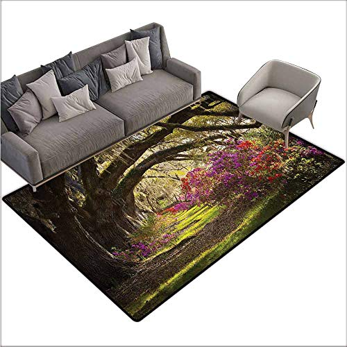 - Anti-Slip Coffee Table Floor Mats Nature,Mystical Garden Flourishing 48