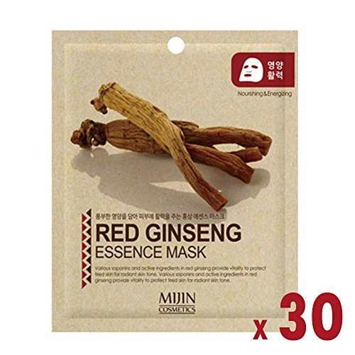 Pack of 30, The Elixir Beauty Facial Mask Sheet, Highly-Concentrated Full Face Mask Pack, Red Ginseng