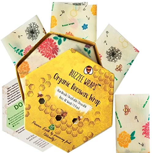BUZZEE- Organic Beeswax Wrap 4 Pack | Eco Friendly,Reusable Food Wraps,Plasticfree Food Storage |Beeswax Food Wraps | Lemon and Lemongrass Essential Oil Scented-1 Large 2 Medium 1 Small -Bees at Work