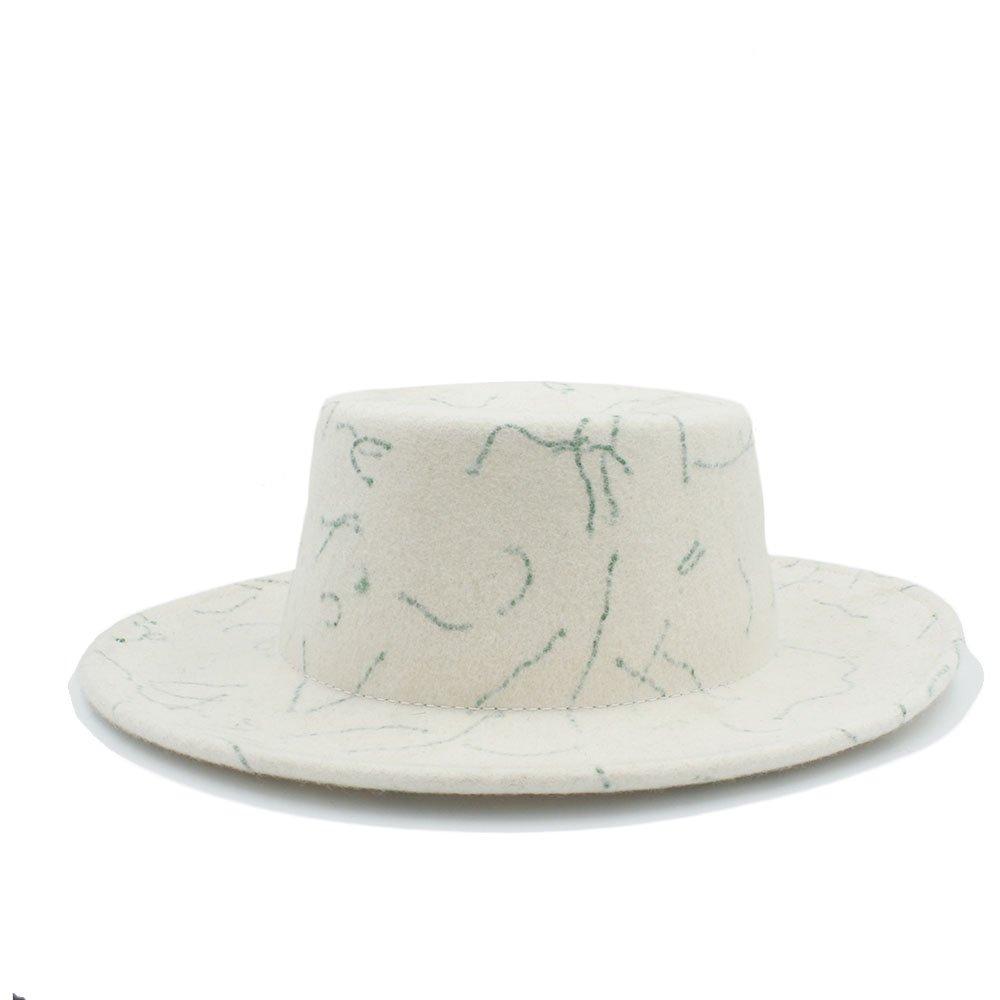 For women's hats 100% Australia Wool White Women Prostrate fedora Winter Autumn Prok Pie (Color : 2, Size : 57-58CM)
